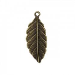 breloques feuilles bronze