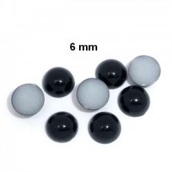 50 cabochons dôme noir 6 mm