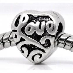 4 perles coeur gravé LOVE...