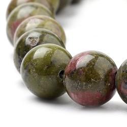 10 perles de 10 mm en Unakite