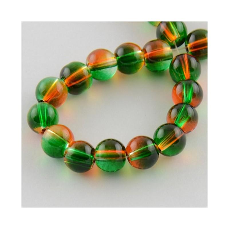 perles en verre vertes et orange