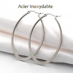 Créoles ovales en acier inoxydable