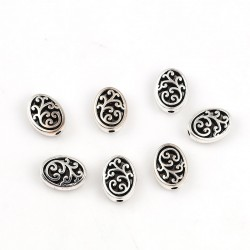 10 perles ovales fleurs...
