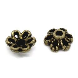 50 coupelles fleur 6 mm bronze