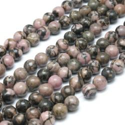 10 perles en Rhodonite, 8 mm,