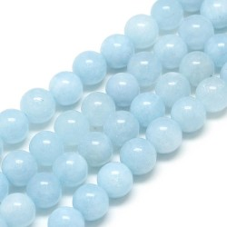 10 perles en aigue-marine,...