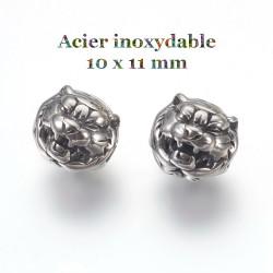 2 perles tigre en acier...