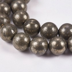 10 perles en Pyrite, 8 mm
