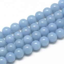 10 perles en Angélite, 8 mm