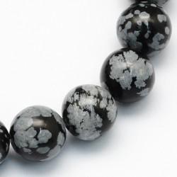 10 perles en Obsidienne...