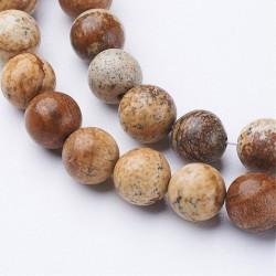 10 perles en jaspe Image 8 mm