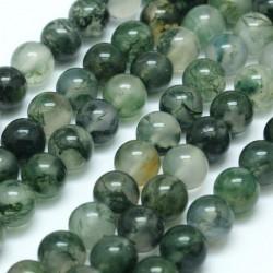 10 perles en Agate mousse 6 mm